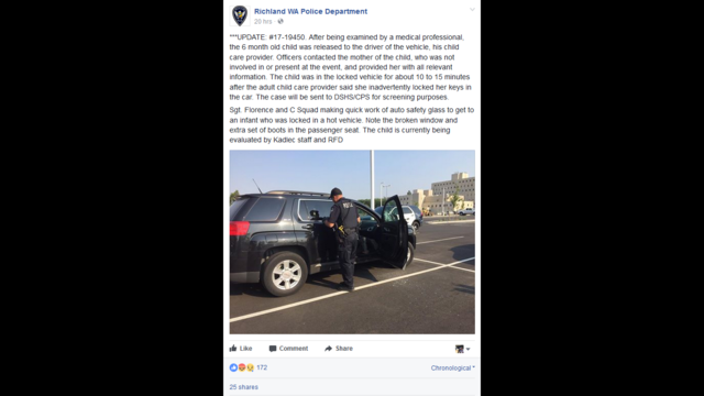Richland Police face backlash for Facebook post about a baby left in a hot car