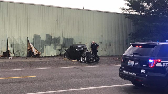 Hot rod crashes into Pasco business