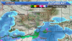 Monday afternoon snow developing