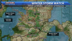 Winter Storm Watch in the mountains