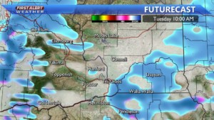 Tuesday morning snow showers
