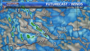 Saturday winds between 20-25 MPH