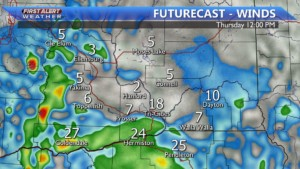Breezy day with gusts to 25 MPH