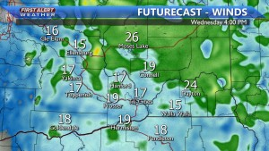 Wind gusts up to 25 MPH