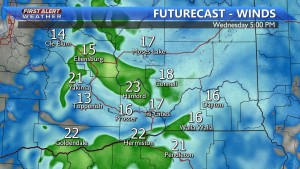 Wind gusts up to 25 MPH today