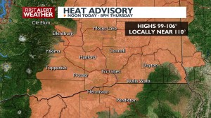 Heat Advisory continues through Thursday
