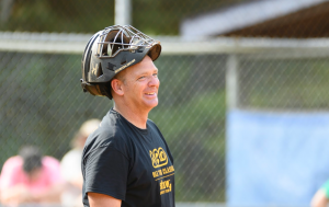 Alternative Baseball player smiles while on the field