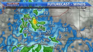 Winds increase Monday evening