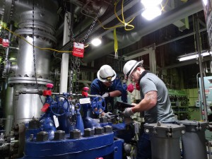 Workers perform maintenance at Columbia Generating Station
