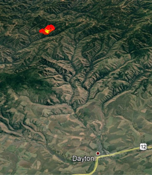 Northwest Incident Management Team 7 tdSponSsorhce17md · This is a Google Earth view looking south from Dayton, Washington to the Green Ridge fire. The perimeter is derived from a nightly infrared detection flight.