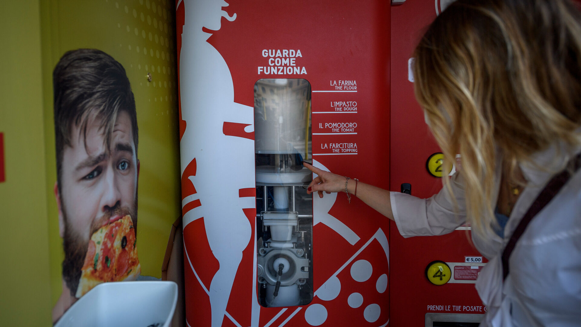 <p>The machine has enough flour and water to make 100 pizzas at a time.</p>