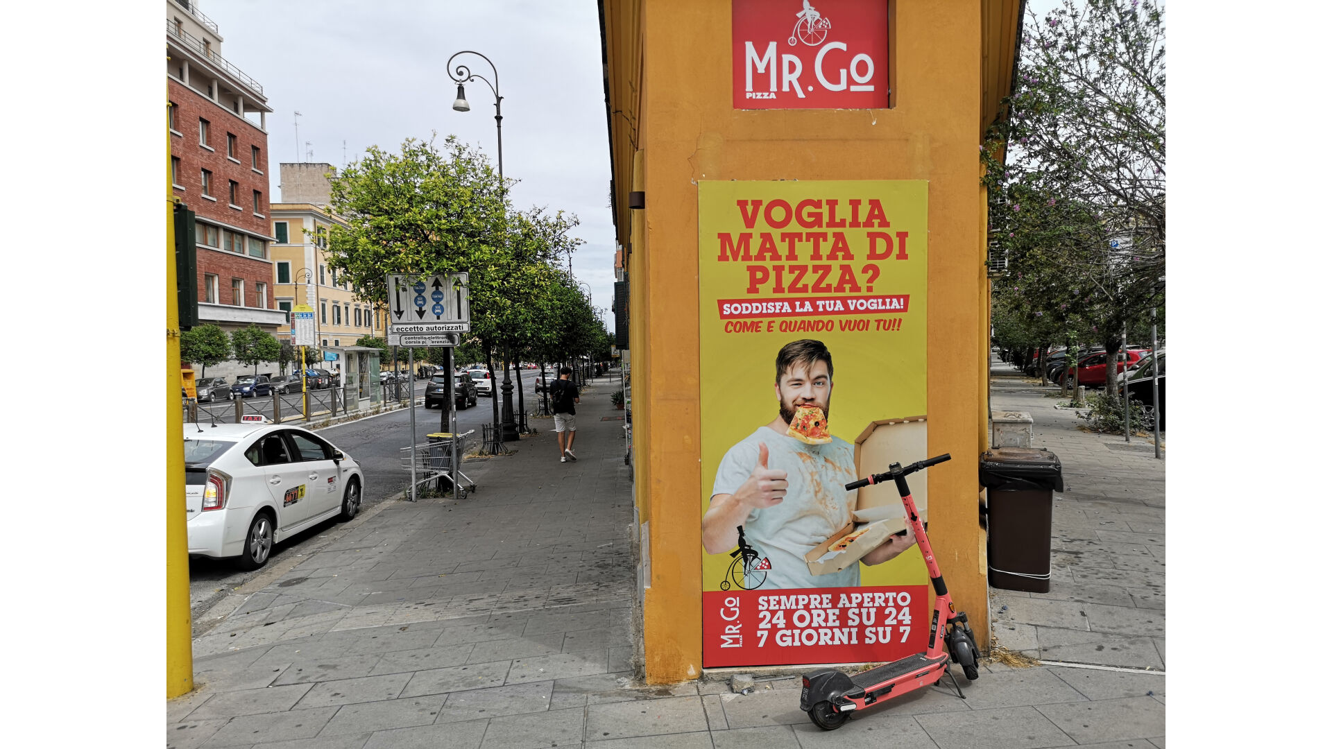 <p>Mr. Go is in a residential zone, between a hospital and a university area.</p>